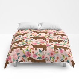 Red Angus cattle breed floral farm homestead gifts cow pattern Comforters