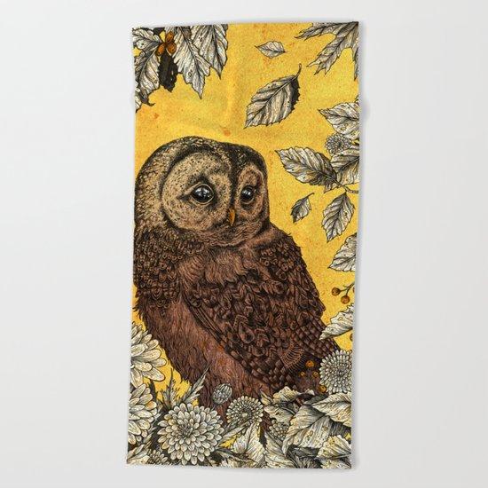 Tawny Owl Yellow Beach Towel
