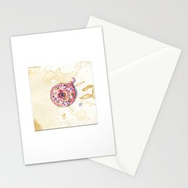 Pink Sprinkle Donut Watercolor on Coffee-Stained Paper Stationery Cards