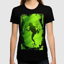 Frog Shape on Green Leaf T-shirt