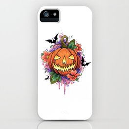 Halloween Pumpkin Watercolor Design iPhone Case