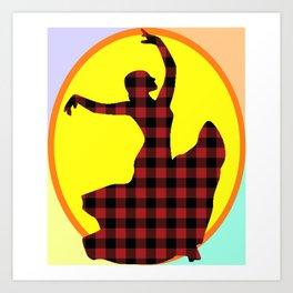 Flamenco Dancer Plaid Multi Art Print