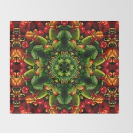 Peppy pepper mandala - green center Throw Blanket
