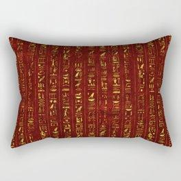 Golden Egyptian  hieroglyphics on red leather Rectangular Pillow
