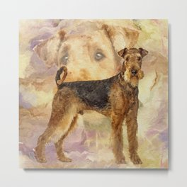 Airedale Terriers Mixed Media Digital art Metal Print