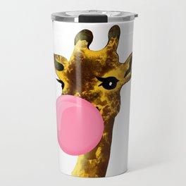 Cute giraffe with chewing gum Travel Mug