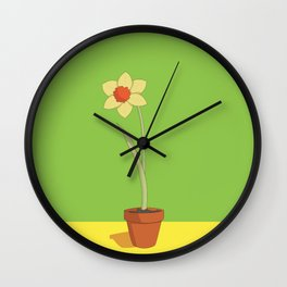 Daffodil Pot Wall Clock