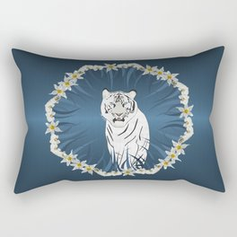 White Tiger with Orchid Grass Wreath Rectangular Pillow