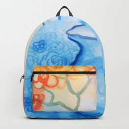 Cherry flowers in the blue jug Backpack