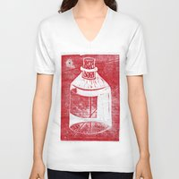 whisky V-neck T-shirts featuring Ol' Whisky Bottle by Shane Haarer