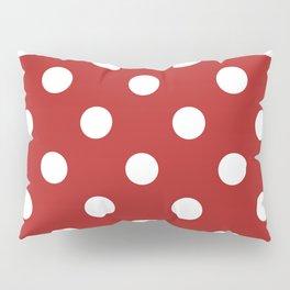 Polka Dots - White on Firebrick Red Pillow Sham