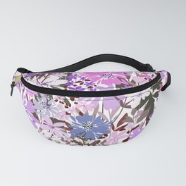 Modern Floral Illustration,  Purple and Pink Flowers art 6 Fanny Pack