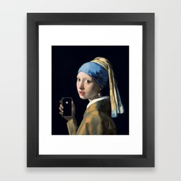 Girl with a pearl earring and an iPhone Framed Art Print