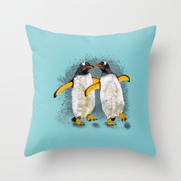 Happy penguin couple - Teal fade Throw Pillow