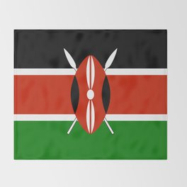Kenyan national flag - Authentic version Throw Blanket