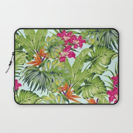 Bird of Paradise Greenery Aloha Hawaiiana Rainforest Tropical Leaves Floral Pattern Laptop Sleeve