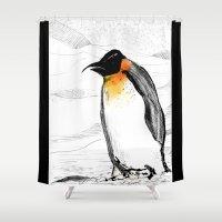 penguin Shower Curtains featuring Penguin by Jonas Ericson