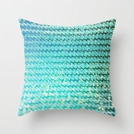 Mermaid Waves and Sea Foam, Sun Light over the Ocean Throw Pillow