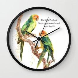 Extinct Birds: Carolina Parakeet Wall Clock