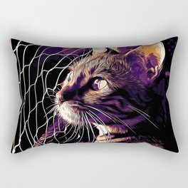 bengal cat yearns for freedom vector art late sunset Rectangular Pillow