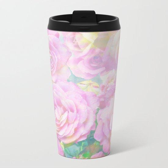 Lush, pink, painterly roses Metal Travel Mug
