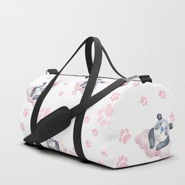 Blush pink black white panda animal paw's pattern Duffle Bag