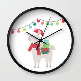 Christmas llamas V Wall Clock