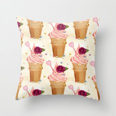 Pink ice cream pattern Throw Pillow