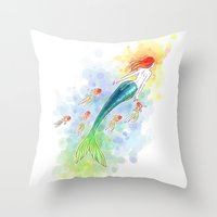 under the sea Throw Pillows featuring Under the Sea by Freeminds