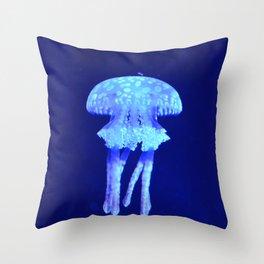 Blue jellyfish Throw Pillow