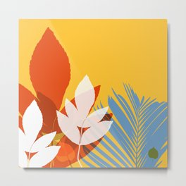 Leaves silhouette in orange and red Metal Print