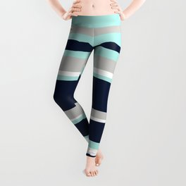 Ocean, Stripe Abstract Pattern, Navy, Aqua, Gray Leggings