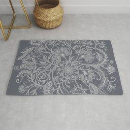 Jacobean Inspired Light on Dark Grey Floral Doodle Rug