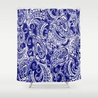batik Shower Curtains featuring paisley batik by Ariadne