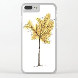 Autumn Tree Illustration Clear iPhone Case