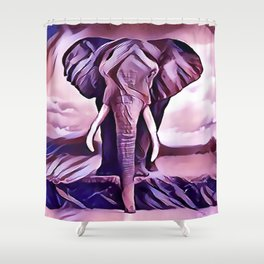 Elephant Drinking Water Shower Curtain