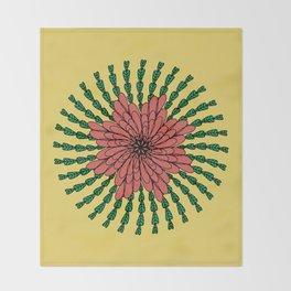 coral flower Throw Blanket