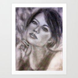 Pencil Portrait Drawing  - American Actress - Emma Stone Art Print