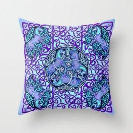 7 Blue Celtic Horses Throw Pillow