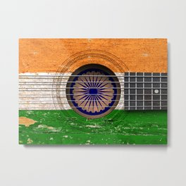 Old Vintage Acoustic Guitar with Indian Flag Metal Print