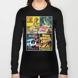 50s Sci-Fi Movie Art Collage #13 Long Sleeve T-shirt