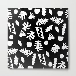 Black and white tropical house plant leaves minimal linocut pattern graphic scandi design Metal Print