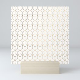 Gold Geometric Pattern on White Background Mini Art Print