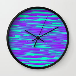 Running luxury violet scribble of art waves and light blue highlights. Wall Clock