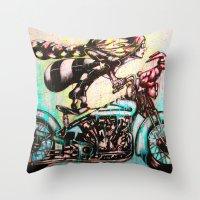 moto Throw Pillows featuring Moto D by Mo Baretta