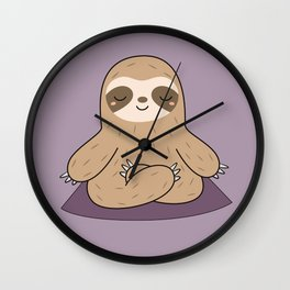 Kawaii Cute Yoga Sloth Wall Clock