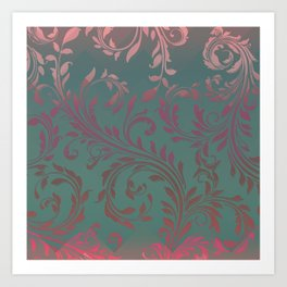 Ombre Damask Teal and Pink Art Print