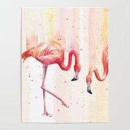 Two Flamingos Watercolor Tropical Birds Animals Poster
