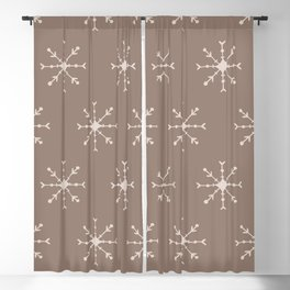 Christmas Pastel Brown Pink Geometric Snowflakes Blackout Curtain