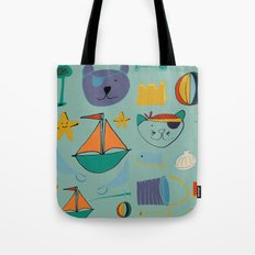 cat and bear at the beach blue green Tote Bag